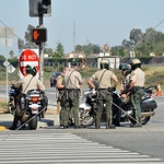 Police on security watch during the 2017 Memorial Day West Coast Thunder Bike Run in Moreno Valley, California.
